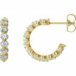 14K Yellow 1 5/8 CTW Lab-Grown Diamond Hoop Earrings