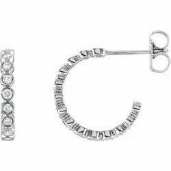 14K White 3/8 CTW Lab-Grown Diamond Hoop Earrings
