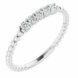 14K White 1/6 CTW Lab-Grown Diamond Stackable Ring