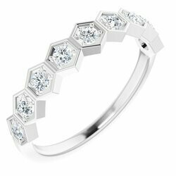 14K White 3/8 CTW Lab-Grown Diamond Stackable Ring