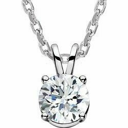 """14K White 1/4 CT Lab-Grown Diamond Solitaire 16-18"""" Necklace"""