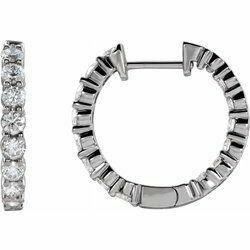 14K White 1 CTW Lab-Grown Diamond Inside-Outside Hinged 19.3 mm Hoop Earrings