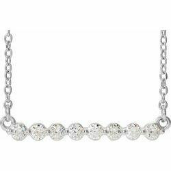 "14K White 1/4 CTW Lab-Grown Diamond Bar 18"" Necklace"
