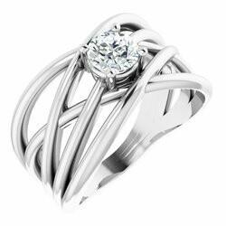 14K White 5/8 CT Lab-Grown Diamond Solitaire Criss-Cross Ring