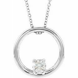 "14K White 5/8 CT Lab-Grown Diamond Circle 16-18"" Necklace"