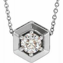 "14K White 1/2 CT Lab-Grown Diamond Geometric 16-18"" Necklace"
