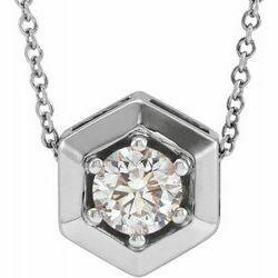 "14K White 1/2 CT Lab-Grown Diamond Geometric 16-18"" Necklace"
