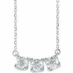 "14K White 1 CTW Lab-Grown Diamond Three-Stone Curved Bar 16-18"" Necklace"
