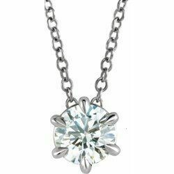 """14K White 1 CT Lab-Grown Diamond Solitaire 16-18"""" Necklace"""