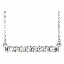 "14K White 1/4 CTW Lab-Grown Diamond French-Set Bar 16-18"" Necklace"