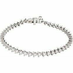 "14K White 5 CTW Lab-Grown Diamond Line 7 1/4"" Bracelet"
