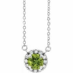"14K White 3.5 mm Round Peridot & .04 CTW Diamond 16"" Necklace"