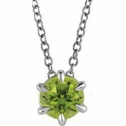 "Platinum Peridot Solitaire 16-18"" Necklace"