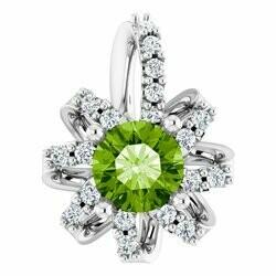 14K White Peridot & .07 CTW Diamond Halo-Style Pendant