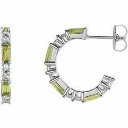 14K White Peridot & 1/2 CTW Diamond Earrings
