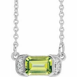"14K White Peridot & .02 CTW Diamond Bar 16"" Necklace"