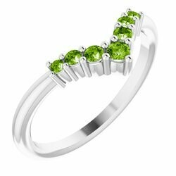 "14K White Peridot Graduated ""V"" Ring"