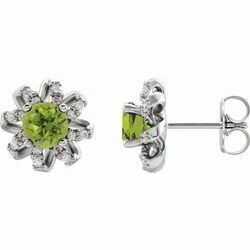 14K White Peridot & 1/8 CTW Diamond Halo-Style Earrings