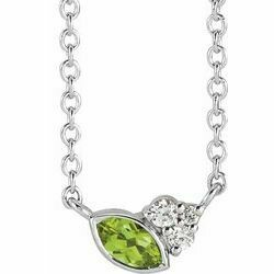 "14K White Peridot & .03 CTW Diamond 16"" Necklace"