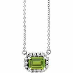 "14K White 6x4 mm Emerald Peridot & 1/5 CTW Diamond 16"" Necklace"