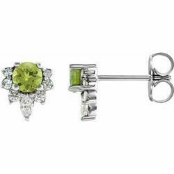 14K White Peridot & 1/6 CTW Diamond Earrings