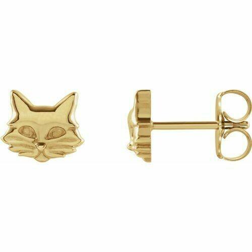 14K Yellow Tiny Cat Earrings