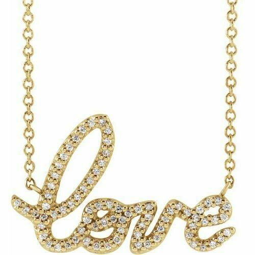 14K Yellow 1/6 CTW Diamond Love 18