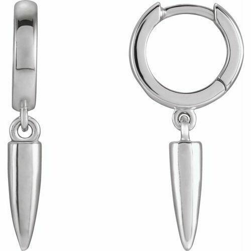 14K White Hinged Hoop Spike Earrings