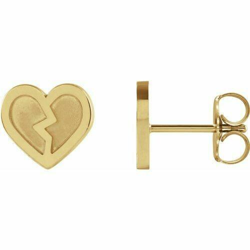 14K Yellow Tiny Heart Earrings