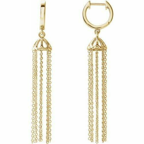 14K Yellow 53.2 mm Hinged Hoop Chain Earrings
