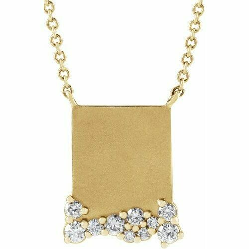 "14K Yellow Engravable 1/5 CTW Diamond 16"" Necklace"