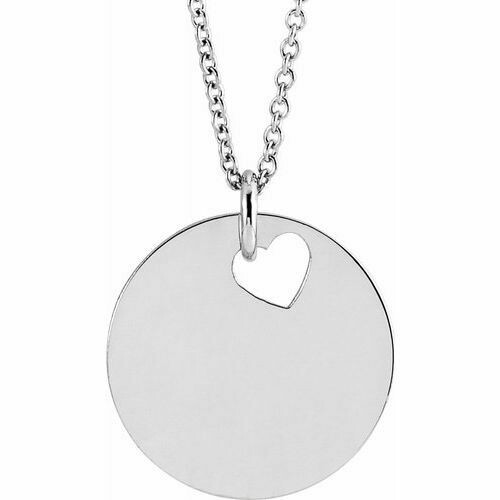 "14K White Pierced Heart 15 mm Disc 16-18"" Necklace"