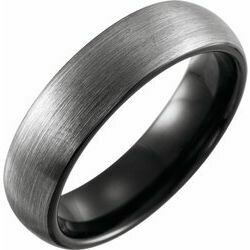 Black PVD Tungsten 6 mm Band Size 10