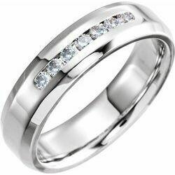 14K White 1/4 CTW Diamond 6 mm Beveled-Edge Band Size 10
