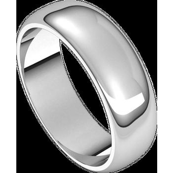 14K White Standard Weight Standard Fit Half Round Band