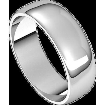 14K White Lightweight Standard Fit Half Round Band