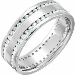 14K White 1 1/8 CTW Diamond Flat Band Size 10