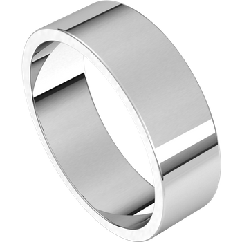 14K White Standard Weight Standard Fit Flat Band