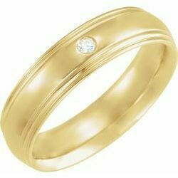 14K Yellow 6 mm Half Round Edge Band Mounting Size 19