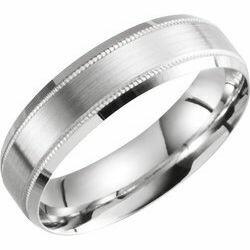 14K White 6 mm Beveled-Edge Band with Milgrain Size 10