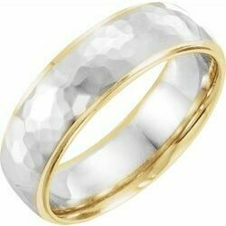 14K Yellow/White/Yellow 6 mm Flat Edge Band with Hammer Finish Size 10