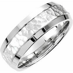 14K White 7.5 mm Concave Beveled-Edge Band with Satin Hammer Finish Size 10