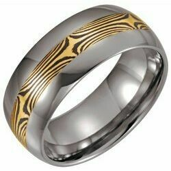 Tungsten & 14K Yellow 8.3 mm Domed Band with Shakudo Mokume Gane Inlay Size 11.5