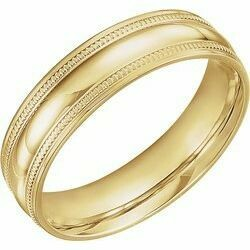 14K Yellow 6 mm Coin Edge Design Band Size 10