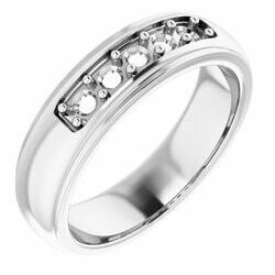 14K White 3 mm Round Men's Ring Mounting