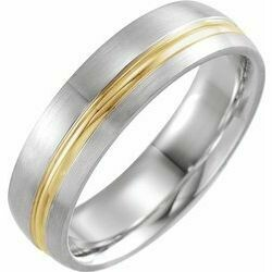14K White & Yellow 6 mm Grooved Band with Brush Finish Size 10