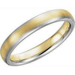 14K White & Yellow 4 mm Half Round Band with Satin Finish Size 10