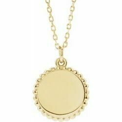 """14K Yellow Engravable Beaded Disc 16-18"""" Necklace"""
