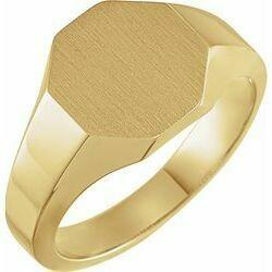 14K Yellow 12.4x12.1 mm Octogon Signet Ring