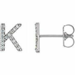 14K White .05 CTW Diamond Single Initial K Earring
